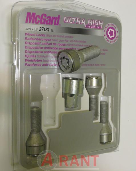 Секретки McGard 27181SL Болт 14x1,5 29мм. Конус - Ключ 17 - Вращающееся кольцо